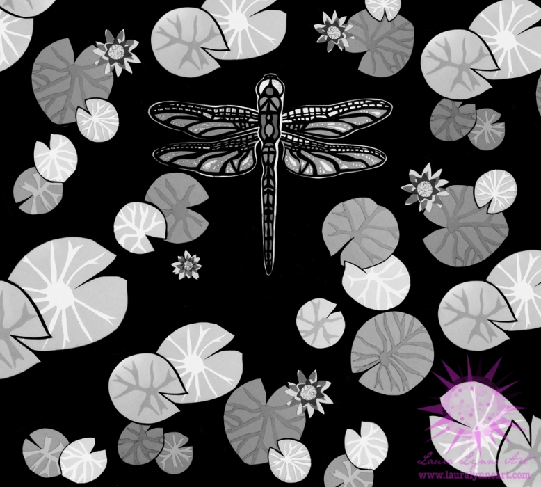 black-and-white-dragonfly-over-pond-illustration