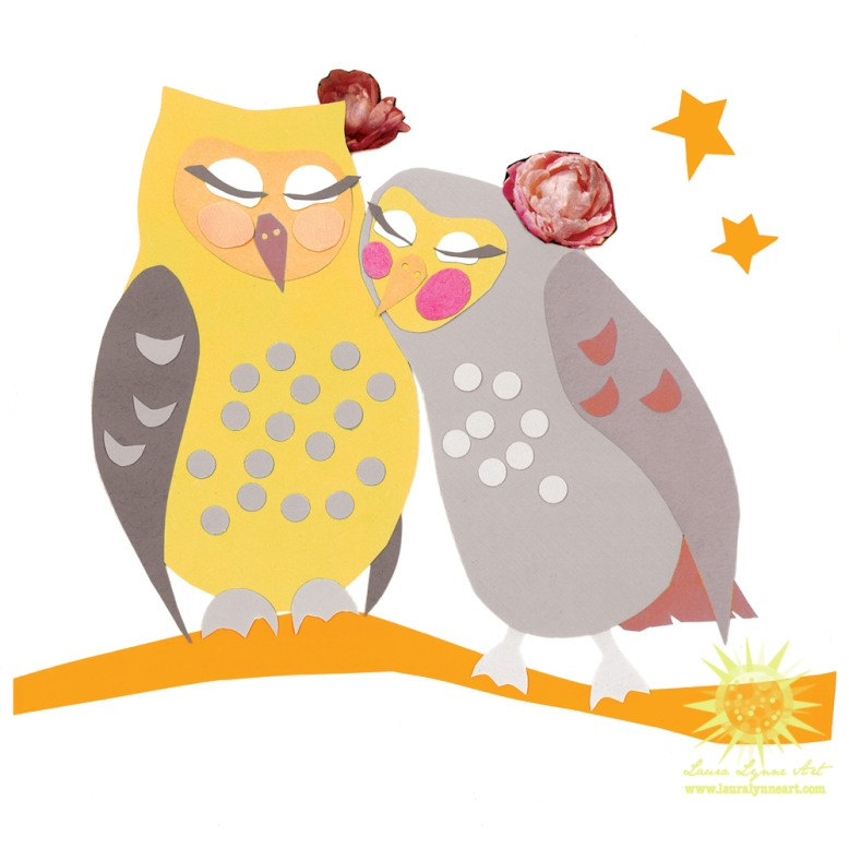 female-owl-couple-snuggling-on-branch-illustration-art
