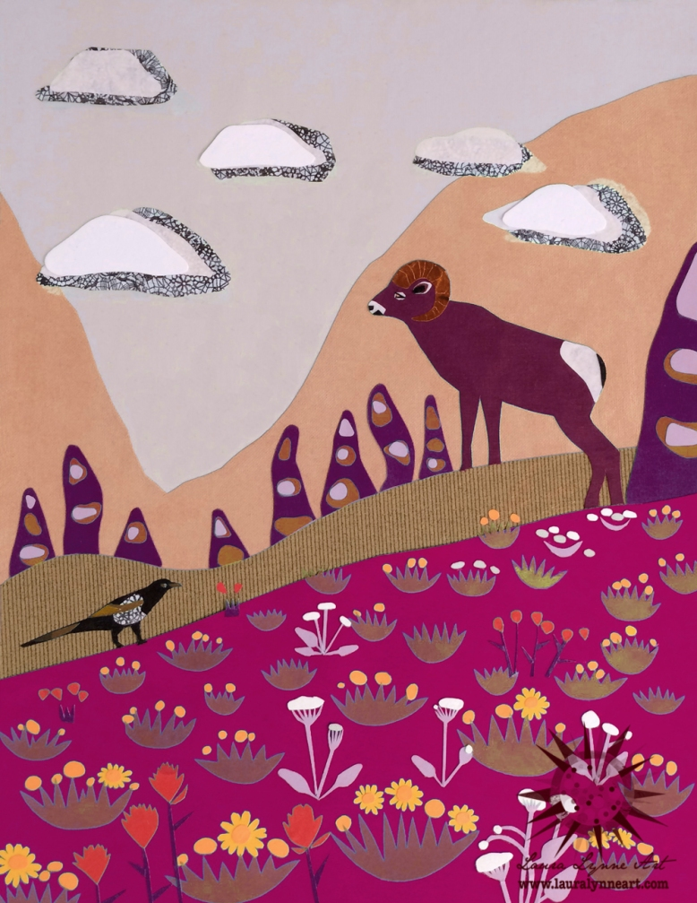 ram-and-magpie-illustration-with-wildflowers