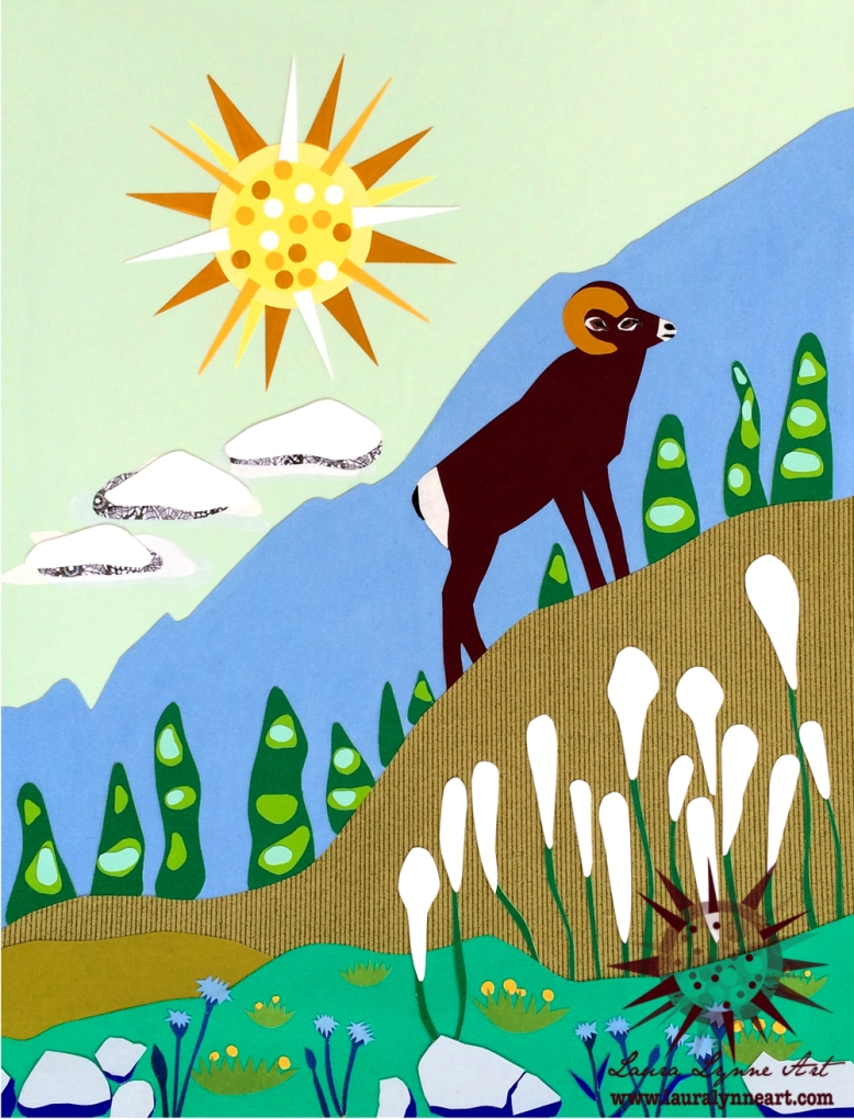 ram-climbing-mountain-with-wildflowers-illustration