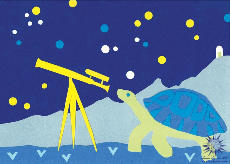 turtle-astronomer-looking-through-vintage-telescope-at-stars-in-the-mountains