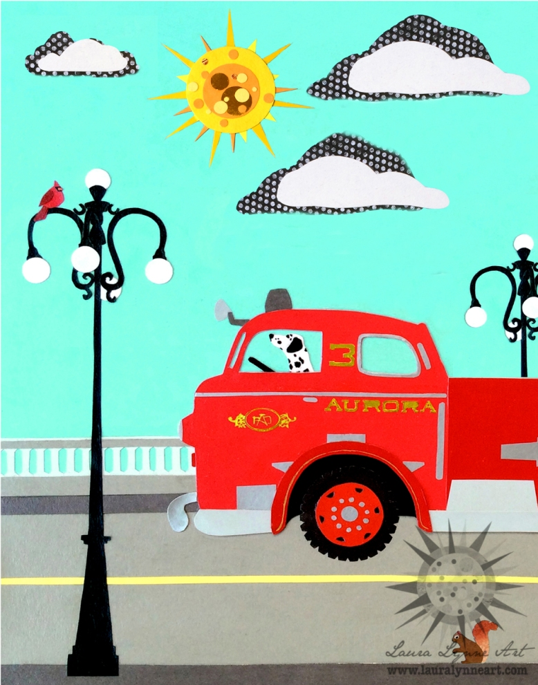 vintage-fire-truck-on-bridge-with-cardinal-and-squirrel-illustration