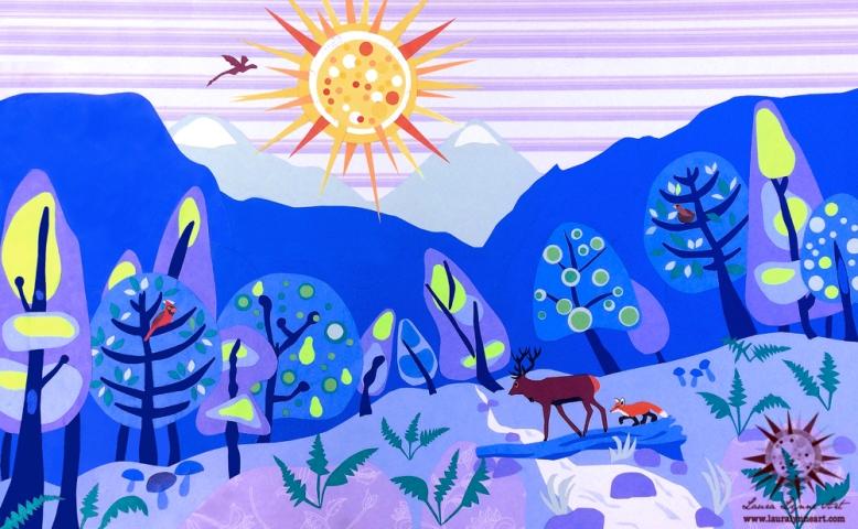 woodland-illustration-with-mid-century-modern-trees-elk-fox-cardinal-and-dragon