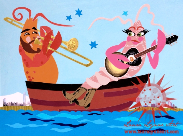 lobster playing trombone and lobster playing guitar in boat