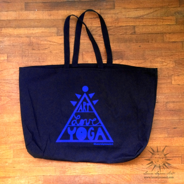 extra large yoga tote bag or grocery bag with art love yoga pyramid