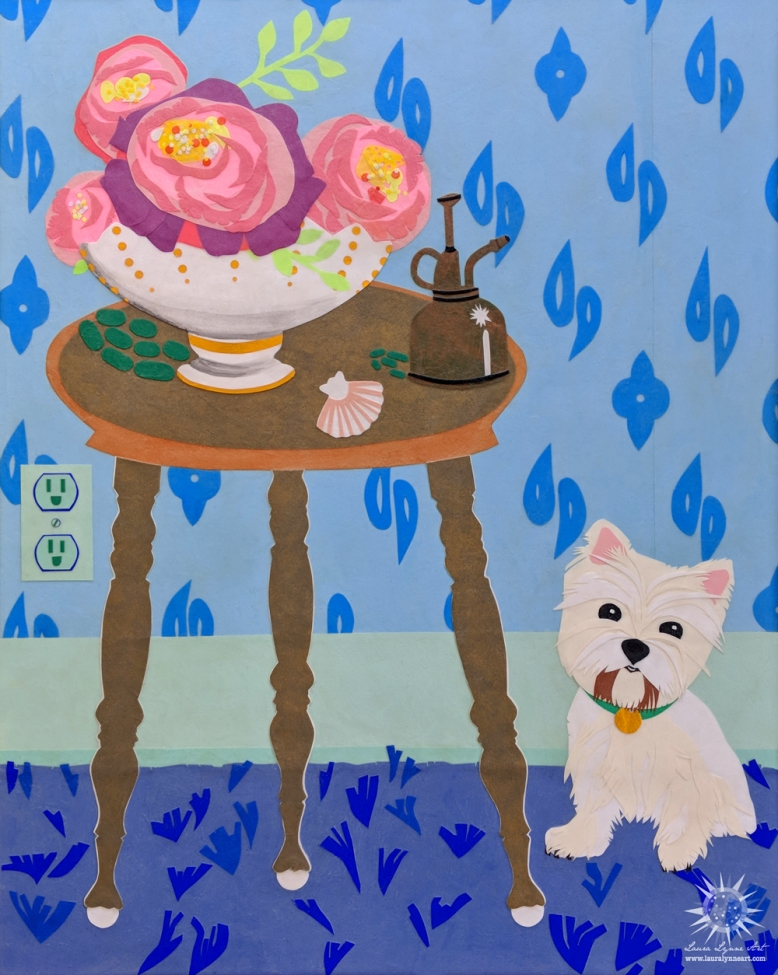 Westhighland Terrier next to a table with a vase of peonies, shell and antique plant mister, blue shag carpet and blue wallpaper