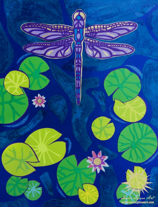 dragonfly papercut collage with green lily pads and pink lotus flowers over blue water